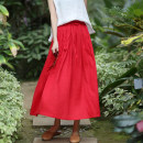 skirt Spring 2021 S,M,L,XL gules longuette commute Natural waist A-line skirt Solid color Type A 30-34 years old 31% (inclusive) - 50% (inclusive) other Forget the city hemp Pocket, lace up literature
