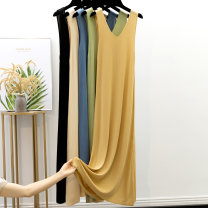 Dress Spring of 2019 Apricot, blue, black, mustard, Matcha green S,M,L longuette singleton  Sleeveless commute V-neck Loose waist Socket A-line skirt camisole 25-29 years old Type A Korean version Y007 51% (inclusive) - 70% (inclusive) other other