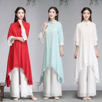 Dress Summer 2020 M,L,XL,2XL Miniskirt Fake two pieces elbow sleeve commute stand collar Loose waist Solid color Socket routine Others Type A Retro 71% (inclusive) - 80% (inclusive) Chiffon