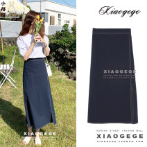 skirt Summer 2020 S,M,L,XL Navy Blue Mid length dress Versatile High waist A-line skirt Solid color Type A 18-24 years old 51% (inclusive) - 70% (inclusive) Zipper, stitching