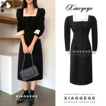 Dress Winter 2020 black S,M,L,XL Mid length dress singleton  Long sleeves commute square neck High waist Single breasted A-line skirt shirt sleeve Others 18-24 years old Type A Korean version Button 2209# other