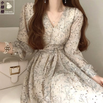 Dress Autumn 2020 Picture color S,M,L,XL Mid length dress singleton  Long sleeves Sweet V-neck High waist Decor zipper A-line skirt shirt sleeve 18-24 years old Type A Other / other Lace up, stitching, bandage, print Chiffon Mori