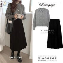 skirt Winter 2020 S. M, l, XL, one size fits all Mid length dress commute High waist Pleated skirt Solid color Type A 18-24 years old Korean version