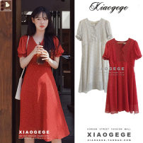 Dress Summer 2020 Red, white S,M,L,XL Mid length dress singleton  Short sleeve commute V-neck High waist Decor Single breasted A-line skirt puff sleeve 18-24 years old Type A Other / other Korean version Lace, lace, button, print