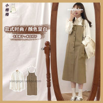 Dress Spring 2021 Khaki, brown, beige shirt, khaki shirt, grey shirt S,M,L,XL Mid length dress singleton  Sleeveless Sweet One word collar High waist Solid color other A-line skirt straps 18-24 years old Type A Other / other Strap, button college