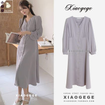 Dress Summer 2021 Apricot, violet S,M,L,XL Mid length dress singleton  Long sleeves commute V-neck middle-waisted Solid color Single breasted other puff sleeve 18-24 years old Type A Korean version Bow, tie, tie, button other