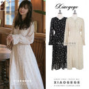 Dress Autumn of 2019 Black, beige S,M,L,XL longuette singleton  Long sleeves commute V-neck High waist Decor Single breasted A-line skirt pagoda sleeve Others 18-24 years old Type A Other / other Korean version