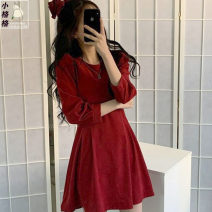 Dress Spring 2021 Khaki, red S,M,L Short skirt singleton  Long sleeves commute Crew neck High waist Solid color Socket A-line skirt shirt sleeve 18-24 years old Type A Other / other Korean version other other