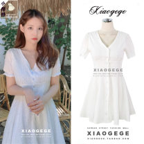 Dress Summer of 2019 milky white S,M,L,XL Short skirt singleton  Short sleeve Sweet V-neck High waist Solid color Single breasted A-line skirt Lotus leaf sleeve Others 18-24 years old Type A Other / other Cut out, ruffle, tuck, button college
