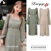 Dress Winter of 2019 Off white, green S,M,L,XL Mid length dress singleton  Long sleeves commute square neck High waist Decor zipper A-line skirt 18-24 years old Type A Other / other Korean version Lace up, stitching, lace, print