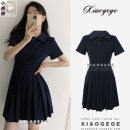 Dress Summer 2021 Navy blue, black S,M,L,XL Middle-skirt singleton  Short sleeve commute Polo collar High waist Solid color Single breasted Pleated skirt routine 18-24 years old Type A Korean version Button 31% (inclusive) - 50% (inclusive) other