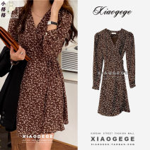 Dress Spring 2021 Brown, blue, black M, L Middle-skirt singleton  Long sleeves commute V-neck Broken flowers A button A-line skirt shirt sleeve Others 18-24 years old Type A Korean version 9136# 51% (inclusive) - 70% (inclusive) other other