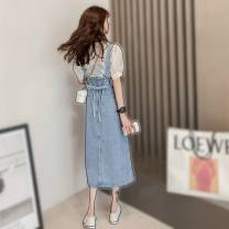 Dress Summer 2021 White top + denim strap skirt S,M,L,XL Mid length dress Two piece set Sleeveless commute V-neck middle-waisted Broken flowers Socket A-line skirt routine Others 25-29 years old Type A Korean version 31% (inclusive) - 50% (inclusive) Chiffon other