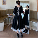 Dress Winter 2020 black M [recommended 85-100 kg], l [recommended 100-115 kg], XL [recommended 115-130 kg], 2XL [recommended 130-150 kg], 3XL [recommended 150-170 kg], 4XL [recommended 170-200 kg] Mid length dress singleton  Long sleeves commute square neck High waist zipper Big swing puff sleeve