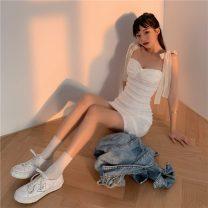 Dress Summer 2021 White, black S, M Short skirt singleton  Sleeveless commute High waist 18-24 years old Type H Korean version a3.8 31% (inclusive) - 50% (inclusive)