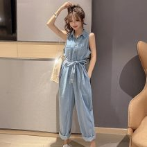 Casual pants trousers Jumpsuit High waist commute routine 18-24 years old 30% and below 5.17 other Korean version Button S,M,L wathet