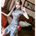 cheongsam Spring 2020 S,M,L grey other Short cheongsam grace No slits daily Decor 18-25 years old Piping polyester fiber 91% (inclusive) - 95% (inclusive)
