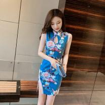 Dress Spring 2020 blue S,M,L Short skirt singleton  Sleeveless commute Decor 18-24 years old Korean version