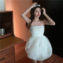 Dress Summer 2021 white S, M Short skirt singleton  commute High waist Solid color other A-line skirt other camisole 18-24 years old Type A Simplicity a3.31 30% and below polyester fiber