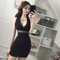 Dress Summer of 2019 black S,M,L Short skirt singleton  Sleeveless commute V-neck High waist Solid color Socket Pencil skirt other Hanging neck style 25-29 years old Type H Other / other Ol style backless five point three one 51% (inclusive) - 70% (inclusive) other polyester fiber