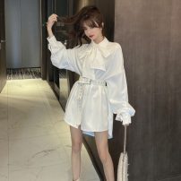 Dress Autumn 2020 White, black M, L Short skirt singleton  Long sleeves commute Polo collar High waist other puff sleeve 18-24 years old Type H Korean version 30% and below other