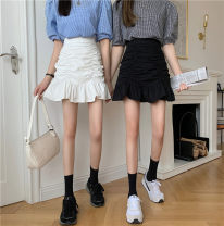 skirt Summer 2021 S,M,L White, black Short skirt Versatile High waist skirt Solid color Type A 18-24 years old a3.19 30% and below other