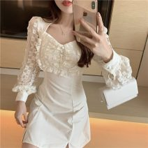 Dress Spring 2021 White, black S, M Short skirt singleton  Long sleeves commute High waist 18-24 years old Type H Retro a3.2 30% and below