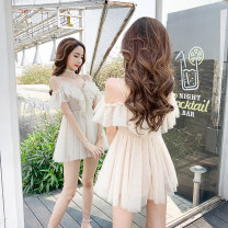 Dress Summer of 2019 Apricot short, black short, gray short, apricot long, gray long, black long, white short, white long XS,S,M,L,XL Short skirt singleton  Sleeveless commute V-neck middle-waisted Solid color Socket Big swing camisole 18-24 years old Type A Other / other Lace, lace