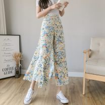 Casual pants S,M,L,XL,2XL Summer 2021 Ninth pants Wide leg pants High waist commute Thin money 71% (inclusive) - 80% (inclusive) other Korean version printing and dyeing