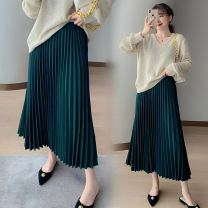 skirt Spring 2021 Average size Mid length dress commute High waist Pleated skirt Solid color Type A 51% (inclusive) - 70% (inclusive) other polyester fiber Ins super hot / elastic waist / fashion / Versatile / temperament / slim Retro