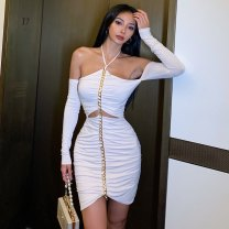 Dress Spring 2021 Black, off white S,M,L Short skirt Two piece set Long sleeves commute Crew neck High waist Solid color zipper One pace skirt routine camisole 18-24 years old Type X Print, stitching, lace up LYQ598 More than 95% knitting cotton