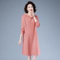 Dress Autumn 2020 Black, pink M,L,XL,2XL,3XL longuette singleton  Long sleeves commute Hood Loose waist Solid color Socket routine Type H Korean version pocket 51% (inclusive) - 70% (inclusive) cotton
