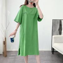 Dress Summer 2020 M L XL XXL Mid length dress singleton  Short sleeve commute Crew neck Loose waist letter Socket other routine 25-29 years old Type H Terer Korean version 3D printing 9282-1 More than 95% cotton Cotton 95% other 5% Pure e-commerce (online only)