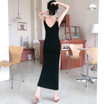 Dress Summer 2020 8357 black (ice) 8357 ginger (ice) M L XL longuette singleton  Sleeveless commute V-neck Loose waist Solid color Socket One pace skirt other straps 18-24 years old Type A Terer Korean version More than 95% polyester fiber Polyester 100% Pure e-commerce (online only)