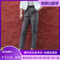 Casual pants Color grid S M L XL Winter of 2019 Ninth pants Straight pants Natural waist Versatile routine C75125 Jando Polyester fiber 64.1% polyacrylonitrile fiber (acrylic fiber) 20.6% viscose fiber (viscose fiber) 5.3% others 10% Pure e-commerce (online only)