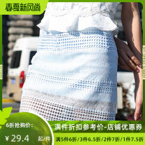skirt Summer of 2018 XS S M L Sky blue longuette Versatile Natural waist Type H 25-29 years old More than 95% Jando polyester fiber Polyester 100%