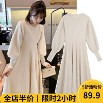 Women's large Winter 2020 Dress singleton  Sweet Straight cylinder thickening Long sleeves Solid color Crew neck routine puff sleeve CS0040- Beauty mark 18-24 years old Medium length Polyester 42% viscose 40% polyamide 18% Pure e-commerce (online only) other solar system