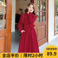 Women's large Spring 2021 Red JH [explosive money / chubby girl wear / tea break net red / Hepburn / Europe / salt / sweet / big chest / small / sweet / temperament / spring and autumn tide] Dress singleton  Sweet easy moderate Socket Long sleeves Solid color square neck routine one - 9C5385 - XX