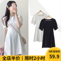 Women's large Summer 2021 Dress singleton  Sweet easy moderate Socket Short sleeve Solid color other routine 3-18CS0250 Beauty mark 18-24 years old Short skirt Cotton 100% Pure e-commerce (online only) solar system