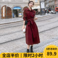 Women's large Winter 2020 Red [pop / fat girl wear / tea break net / Hepburn / Europe / salt / sweet / big / small / sweet / temperament / spring / autumn tide] Dress singleton  Sweet easy thickening Socket Long sleeves Solid color square neck routine A11-24RQ321- Beauty mark 18-24 years old pocket