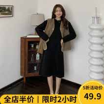 Women's large Autumn 2020 Light coffee vest KY black dress KY suit KY Dress Two piece set Sweet easy thickening Socket Long sleeves Solid color Crew neck routine routine ten - 22C8512 Beauty mark 18-24 years old pocket longuette Viscose (viscose) 100% Pure e-commerce (online only) Irregular skirt