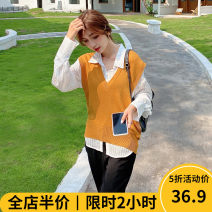 Women's large Autumn 2020 Black pants (single piece) yellow vest (single piece) white shirt (single piece) Vest + shirt + pants (three piece set) Dress Three piece set Sweet easy thickening Socket Long sleeves Solid color square neck routine puff sleeve 9-22AC231+AC230+AX178 Beauty mark longuette
