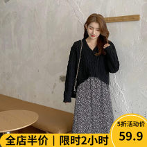 Women's large Winter 2020 Dress Two piece set Sweet easy thickening Socket Long sleeves other V-neck routine routine Beauty mark 18-24 years old Medium length Polyester 100% Pure e-commerce (online only) other solar system