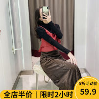 Women's large Summer of 2019 Suit [explosive / fat girl wear / tea break red / Hepburn / Europe / salt / sweet / big chest / little / sweet / temperament / spring and autumn tide] skirt Two piece set Sweet easy thickening Socket Short sleeve other V-neck Collage puff sleeve YJPZ6276 Beauty mark