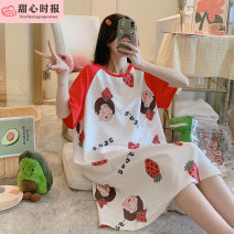 Nightdress Sweetheart times 160(M),165(L),170(XL),175(XXL) Sweet Short sleeve pajamas Middle-skirt summer Crew neck cotton pure cotton