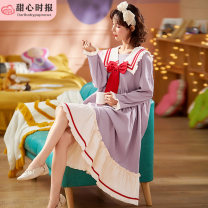 Nightdress Sweetheart times Hgd-8112-long sleeve skirt red butterfly knot purple, hgd-8111-long sleeve skirt red butterfly knot pink, hgd-8110-long sleeve skirt red butterfly knot blue 160(M),165(L),170(XL),175(XXL) Sweet Long sleeves pajamas longuette autumn cotton