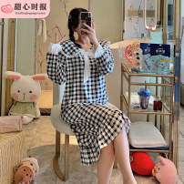 Nightdress Sweetheart times Meqmf-0561-long sleeve skirt white butterfly knot black check, meqmf-0561-long sleeve skirt white butterfly knot yellow check 160(M),165(L),170(XL),175(XXL) Sweet Long sleeves pajamas longuette autumn Polyester (polyester)
