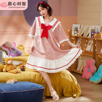 Nightdress Sweetheart times N23-23002-short sleeve skirt red butterfly knot pink, n23-23005-short sleeve skirt red butterfly knot purple, n23-23001-short sleeve skirt red butterfly knot dark blue 160(M),165(L),170(XL),175(XXL) Sweet Short sleeve pajamas Middle-skirt summer cotton