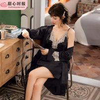 Nightdress Sweetheart times 160(M),165(L),170(XL),175(XXL) sexy pajamas Short skirt Polyester (polyester) Imitation silk