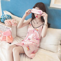 Nightdress Sweetheart times 160(M),165(L),170(XL),175(XXL) Sweet camisole pajamas Middle-skirt summer Cartoon animation youth V-neck Polyester (polyester) More than 95% Imitation silk 8403# 200g and below